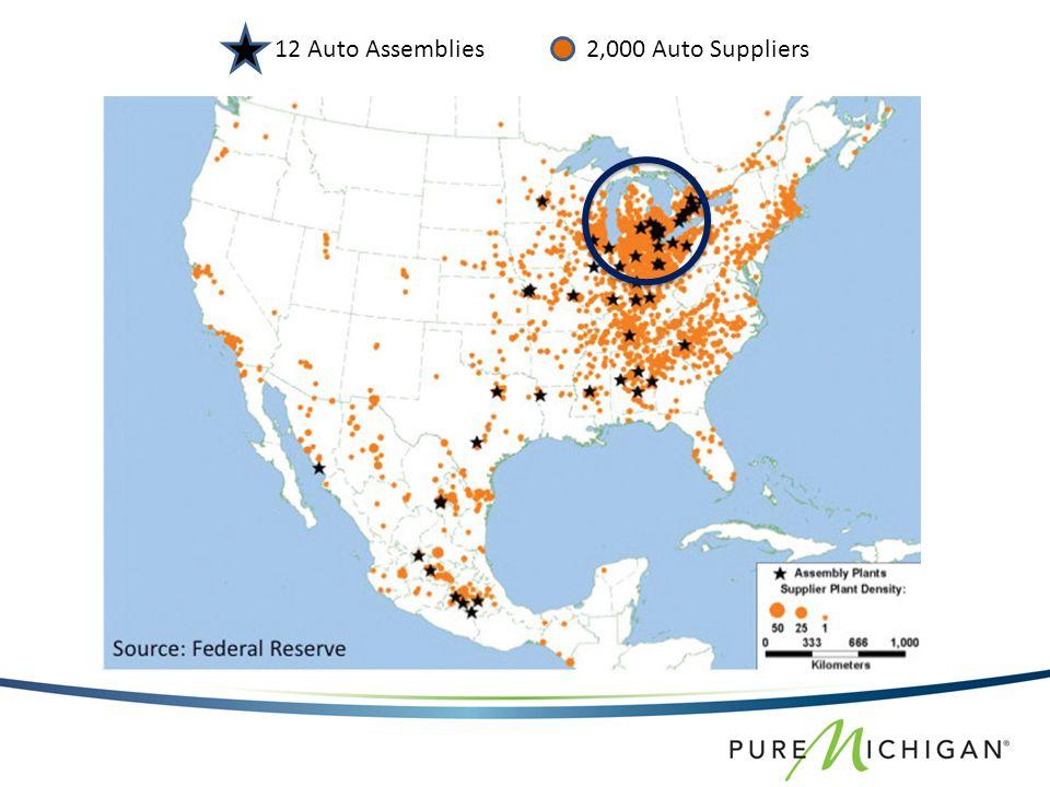 12 Auto Assemblies 2,000 Auto Suppliers