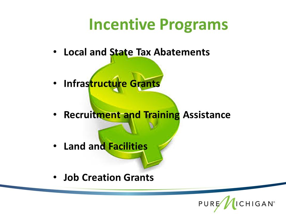 Local and State Tax Abatements Infrastructure Grants Recruitment and Training Assistance Land and Facilities Job Creation Grants Incentive Programs