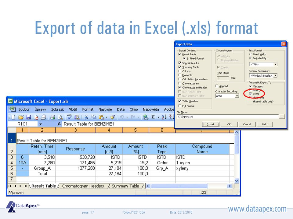 page:Date: 26.2.2010Code: P021/30A17 Export of data in Excel (.xls) format