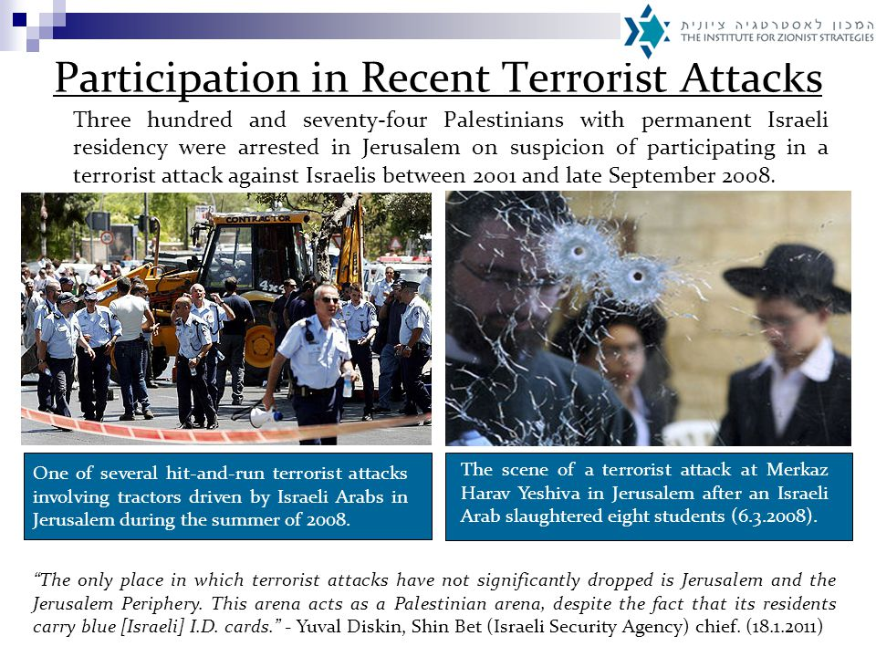 Participation in Recent Terrorist Attacks Three hundred and seventy-four Palestinians with permanent Israeli residency were arrested in Jerusalem on suspicion of participating in a terrorist attack against Israelis between 2001 and late September 2008.