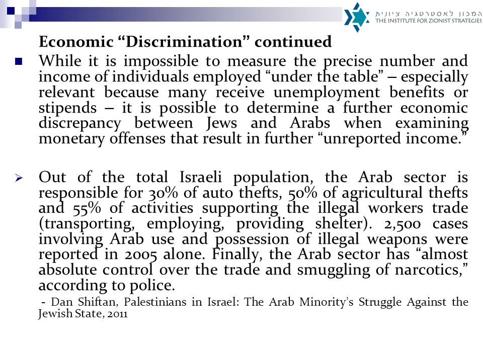 Land Policy Discrimination The disproportional division of National Priority Areas In 2009, the government decided to allocate 40% of land defined National Priority Areas – communities granted additional aid, various economic perquisites and incentives – to the Arab sector.