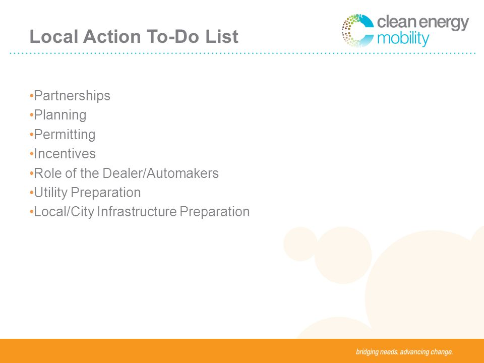 Local Action To-Do List Partnerships Planning Permitting Incentives Role of the Dealer/Automakers Utility Preparation Local/City Infrastructure Preparation