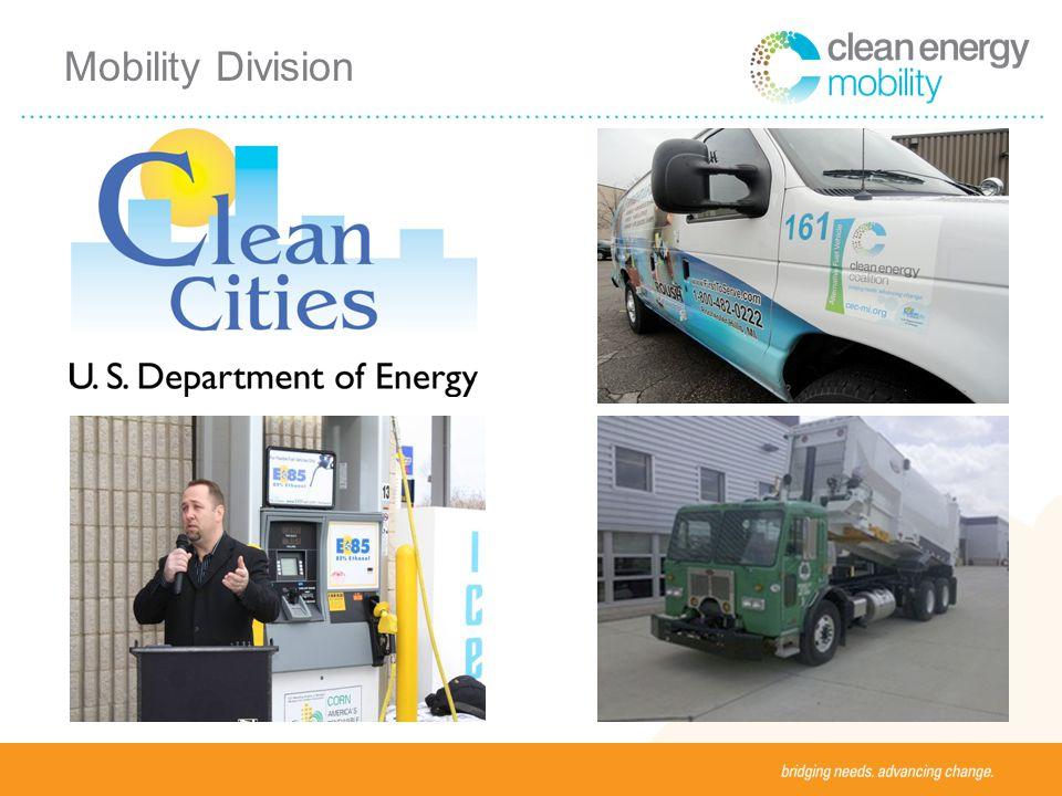 Alternative Fuels Biodiesel (B100, B20) Electricity Ethanol (E85) Hydrogen Methanol Natural gas Propane Blended Fuels Biodiesel/diesel blends (B2, B5) Ethanol/gasoline blends (E10) Hydrogen/natural gas blends (HCNG) Clean Cities Alternative Fuels Portfolio