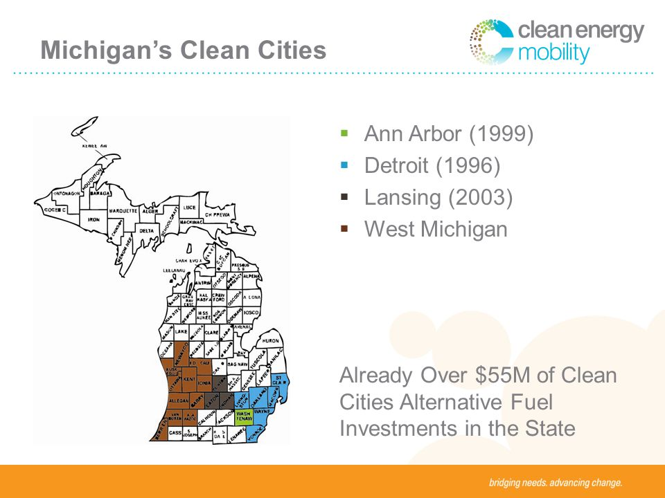 Michigans Clean Cities Ann Arbor (1999) Detroit (1996) Lansing (2003) West Michigan Already Over $55M of Clean Cities Alternative Fuel Investments in the State