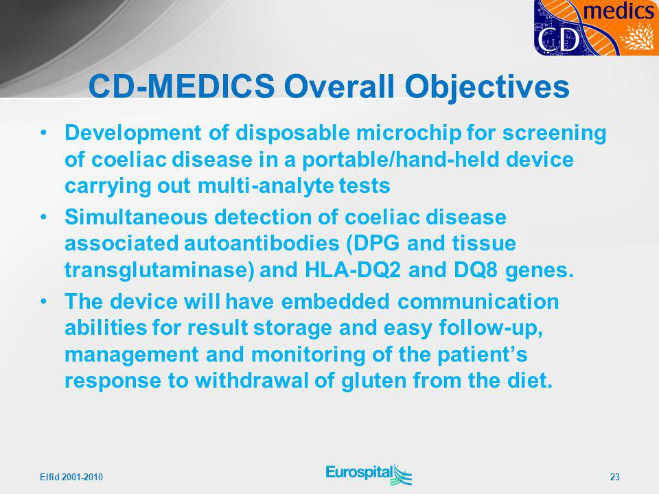 CD-MEDICS Overall Objectives Development of disposable microchip for screening of coeliac disease in a portable/hand-held device carrying out multi-an