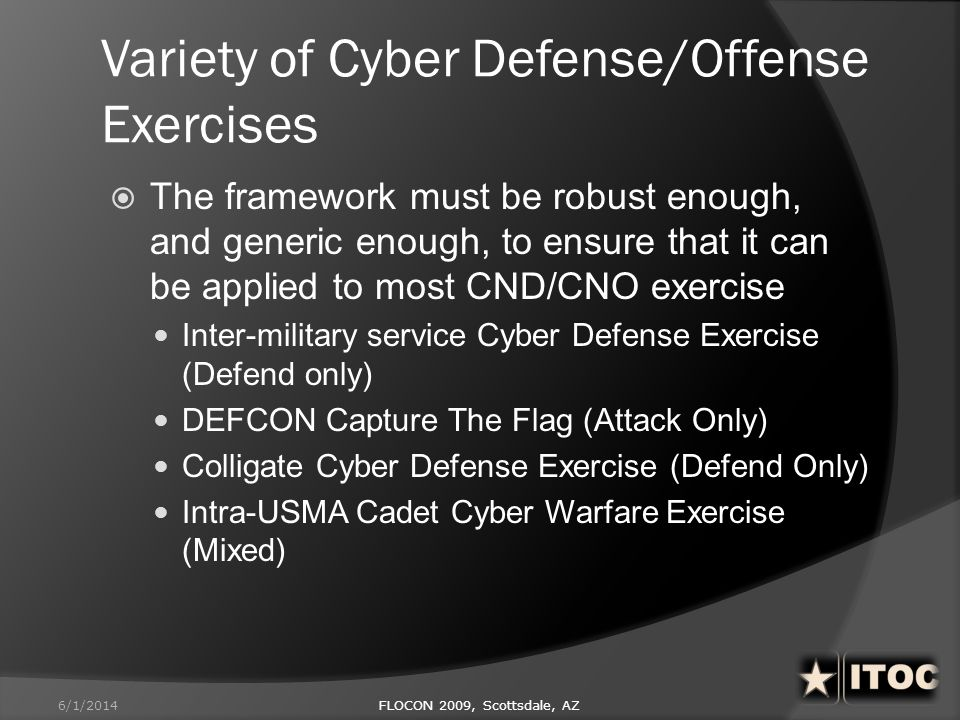 Variety of Cyber Defense/Offense Exercises The framework must be robust enough, and generic enough, to ensure that it can be applied to most CND/CNO e