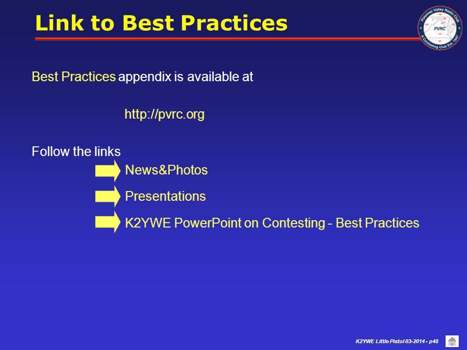 K2YWE Little Pistol 03-2014 - p47 Appendix A - Best Practices Collection Appendix C – Selected Contest Loggers Appendices Skip to PVRC Link