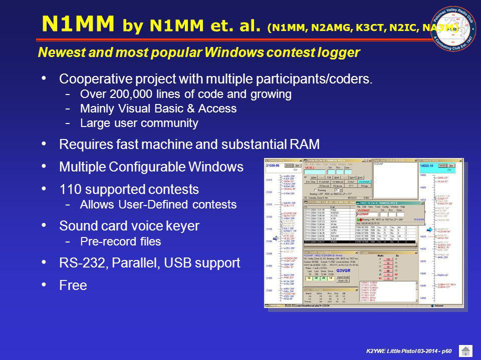 K2YWE Little Pistol 03-2014 - p59 Popular Contest Programs (cond) Contesting-specific with advanced features Band Maps with S&P point & shoot SO2R Support (and Multi) Spotting through a Telnet connection Radio, CW & voice keying, and rotator Interfaces Sound card support  Most provide sound card voice keyer  Some provide sound card Receive recording  Some support external voice keyer control Varying levels of RTTY and PSK31 support are provided  Most generate and read digital modes using the sound card  Some provide only logging functions Facilitate operating, logging, and exploiting opportunities