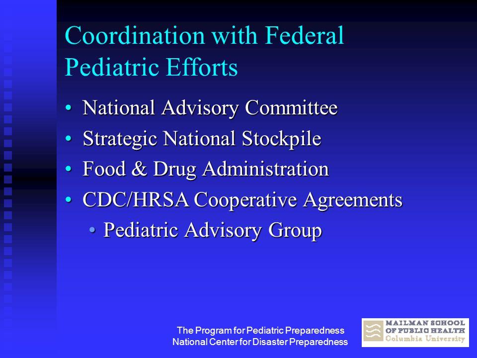 The Program for Pediatric Preparedness National Center for Disaster Preparedness Coordination with Federal Pediatric Efforts National Advisory Committ