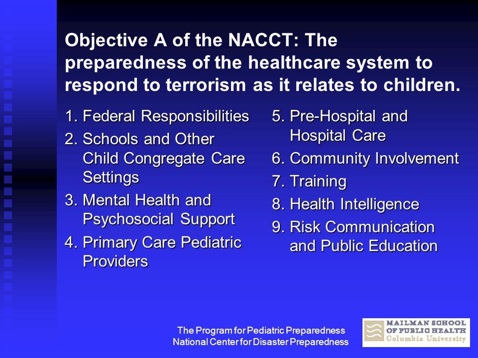 The Program for Pediatric Preparedness National Center for Disaster Preparedness Objective A of the NACCT: The preparedness of the healthcare system t