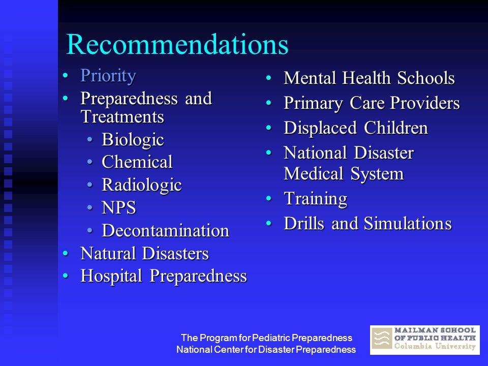 The Program for Pediatric Preparedness National Center for Disaster Preparedness Recommendations PriorityPriority Preparedness and TreatmentsPreparedn