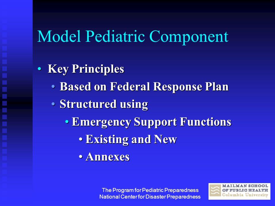 The Program for Pediatric Preparedness National Center for Disaster Preparedness Model Pediatric Component Key PrinciplesKey Principles Based on Feder