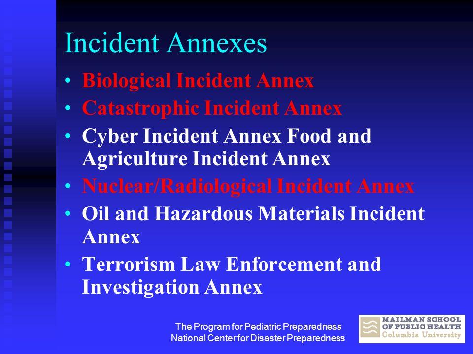 The Program for Pediatric Preparedness National Center for Disaster Preparedness Incident Annexes Biological Incident Annex Catastrophic Incident Anne