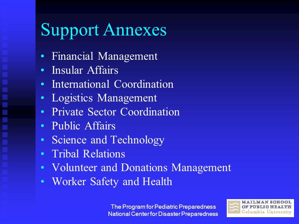 The Program for Pediatric Preparedness National Center for Disaster Preparedness Support Annexes Financial Management Insular Affairs International Co