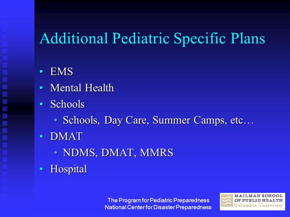 The Program for Pediatric Preparedness National Center for Disaster Preparedness Additional Pediatric Specific Plans EMSEMS Mental HealthMental Health