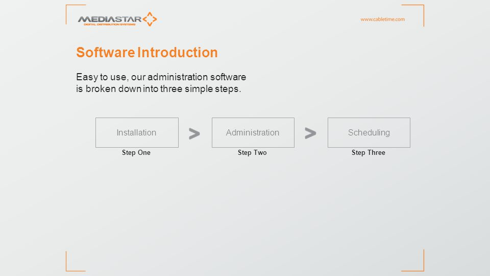 InstallationAdministration Scheduling Step One >Auto detects all hardware >Allocates all TV and video >Set up a media library Set up wizard – source devices