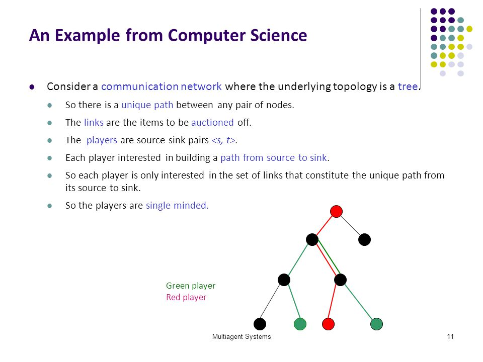 Multiagent Systems11 An Example from Computer Science Consider a communication network where the underlying topology is a tree. So there is a unique p