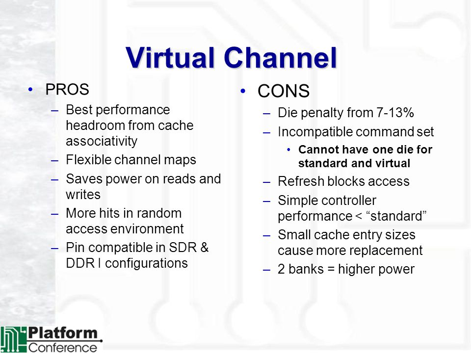 Virtual Channel PROS –Best performance headroom from cache associativity –Flexible channel maps –Saves power on reads and writes –More hits in random access environment –Pin compatible in SDR & DDR I configurations CONS –Die penalty from 7-13% –Incompatible command set Cannot have one die for standard and virtual –Refresh blocks access –Simple controller performance < standard –Small cache entry sizes cause more replacement –2 banks = higher power