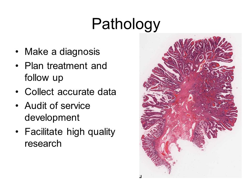 Pathology Make a diagnosis Plan treatment and follow up Collect accurate data Audit of service development Facilitate high quality research