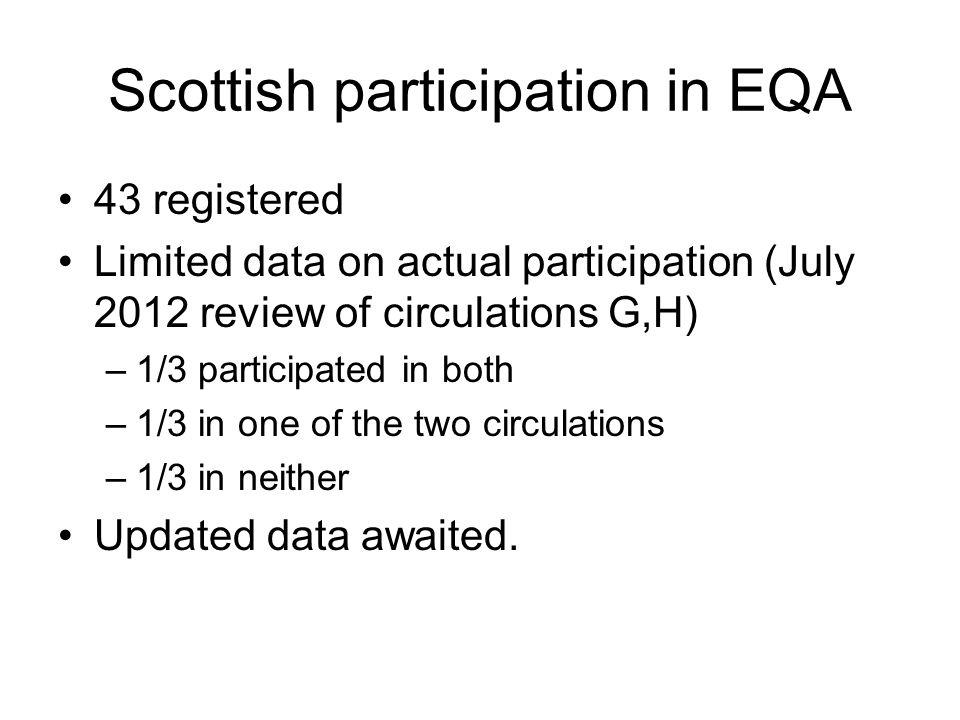 Scottish participation in EQA 43 registered Limited data on actual participation (July 2012 review of circulations G,H) –1/3 participated in both –1/3