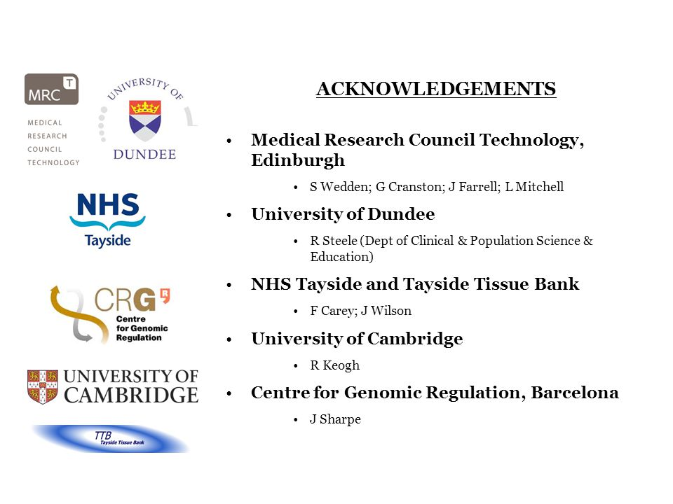 ACKNOWLEDGEMENTS Medical Research Council Technology, Edinburgh S Wedden; G Cranston; J Farrell; L Mitchell University of Dundee R Steele (Dept of Cli