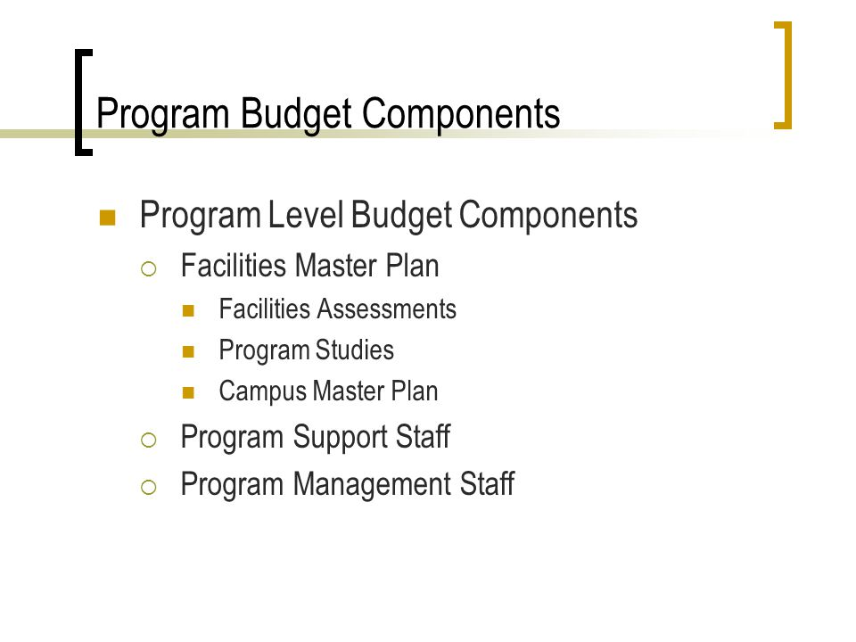 Program Budget Components Program Level Budget Components Facilities Master Plan Facilities Assessments Program Studies Campus Master Plan Program Support Staff Program Management Staff