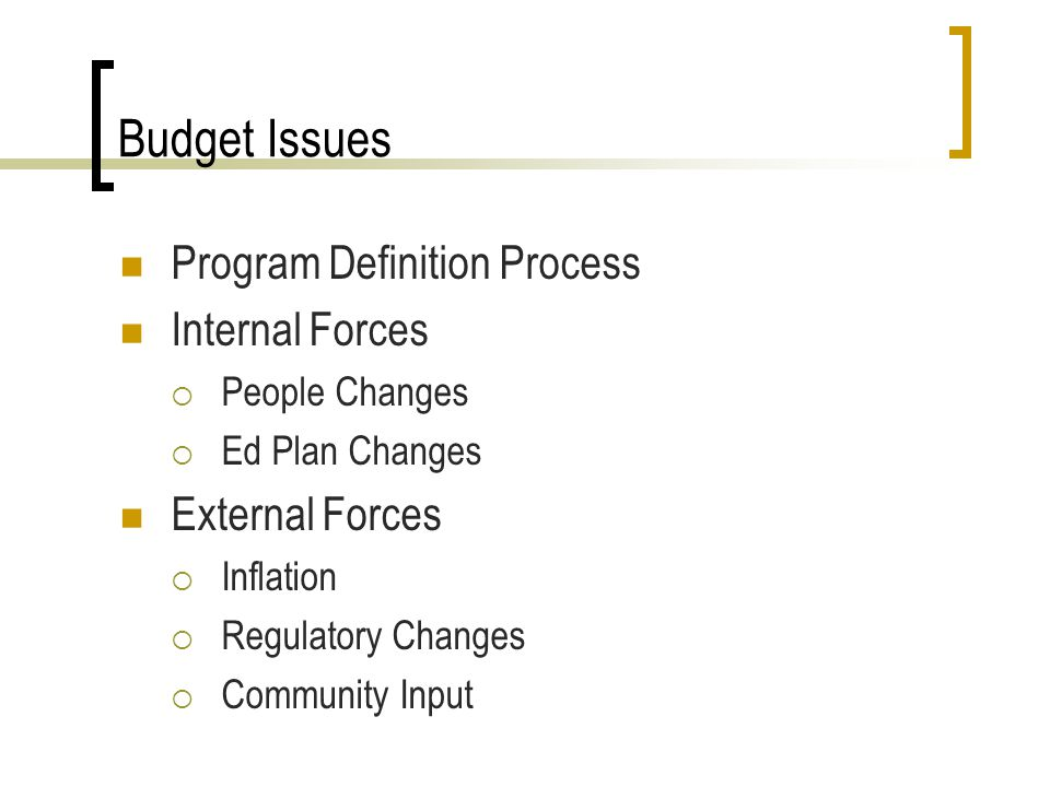 Budget Issues Program Definition Process Internal Forces People Changes Ed Plan Changes External Forces Inflation Regulatory Changes Community Input