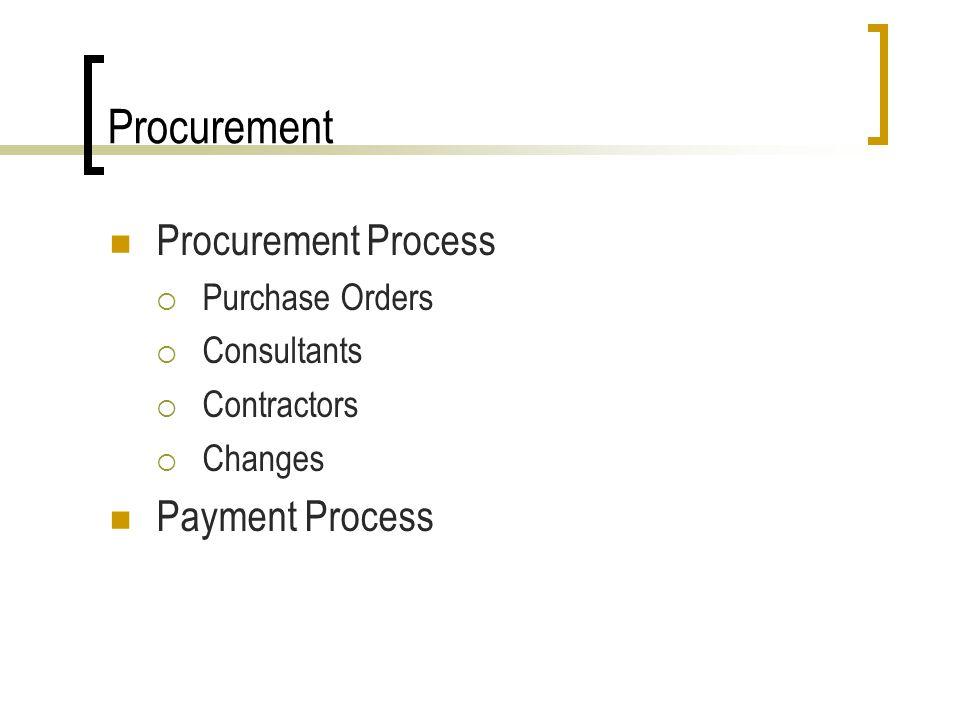Procurement Procurement Process Purchase Orders Consultants Contractors Changes Payment Process