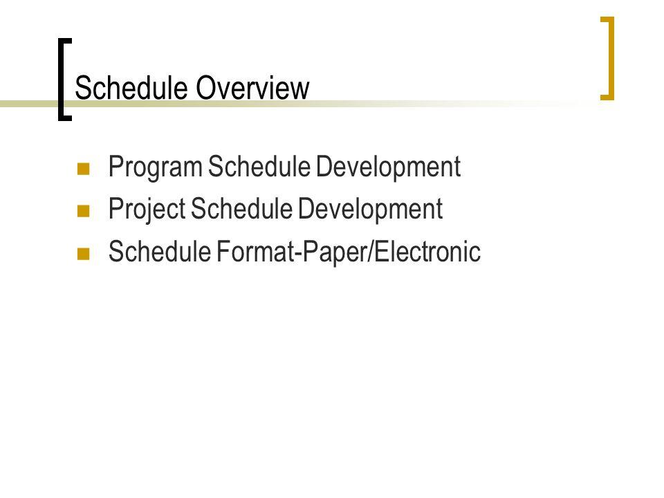 Schedule Overview Program Schedule Development Project Schedule Development Schedule Format-Paper/Electronic