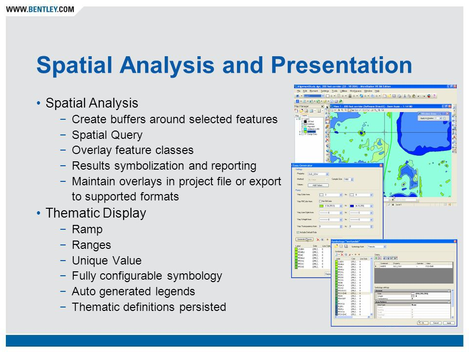 Spatial Analysis and Presentation Spatial Analysis Create buffers around selected features Spatial Query Overlay feature classes Results symbolization