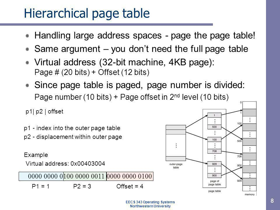 19 Page fault handling Hardware traps to kernel General registers saved by assembler routine, OS called OS find which virtual page cause the fault OS checks address is valid, seeks page frame If selected frame is dirty, write it to disk (CS) Get new page (CS), update page table Back up instruction where interrupted Schedule faulting process Routine load registers & other state and return to user space EECS 343 Operating Systems Northwestern University