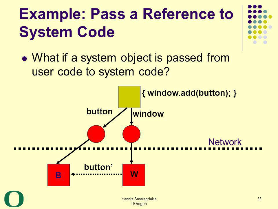 Yannis Smaragdakis UOregon 33 Example: Pass a Reference to System Code What if a system object is passed from user code to system code? B button windo