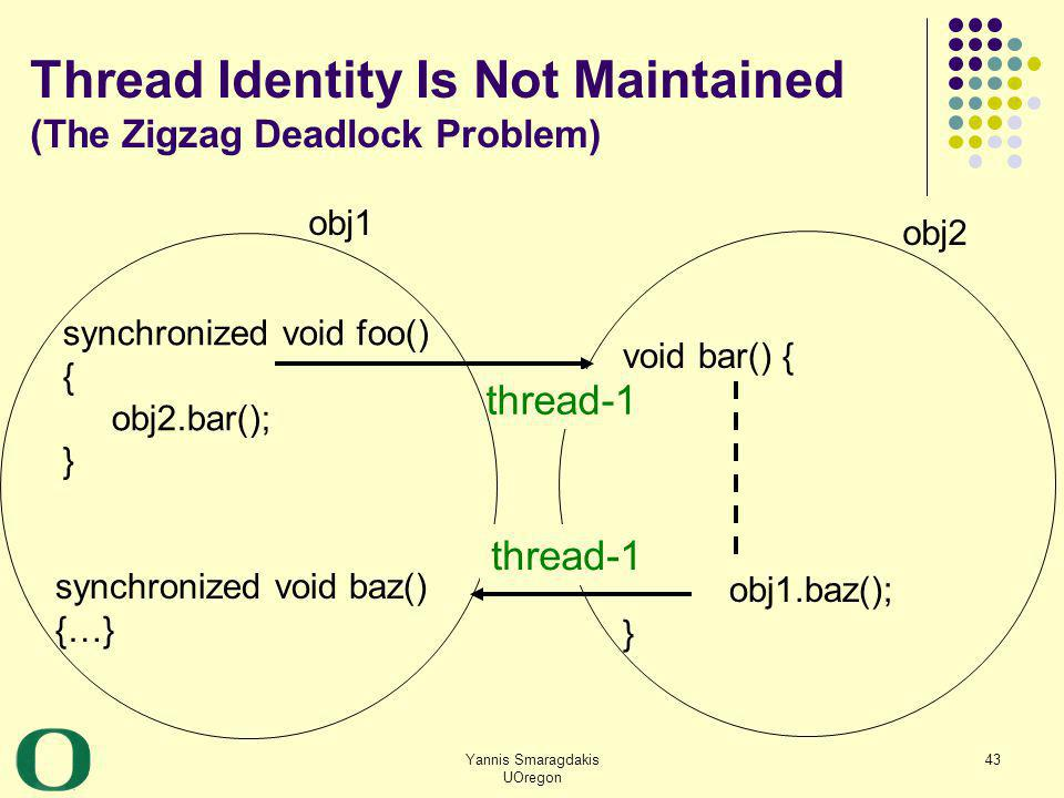 Yannis Smaragdakis UOregon 43 Thread Identity Is Not Maintained (The Zigzag Deadlock Problem) synchronized void foo() { obj2.bar(); } synchronized voi