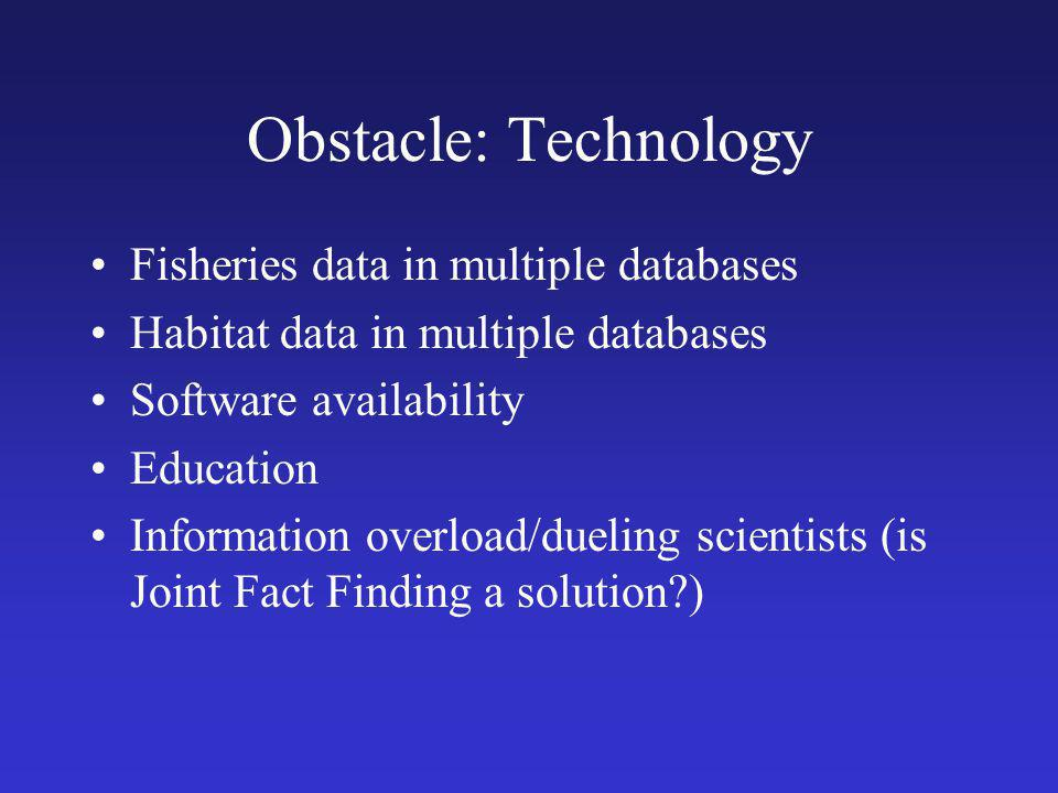Obstacle: Technology Fisheries data in multiple databases Habitat data in multiple databases Software availability Education Information overload/dueling scientists (is Joint Fact Finding a solution?)
