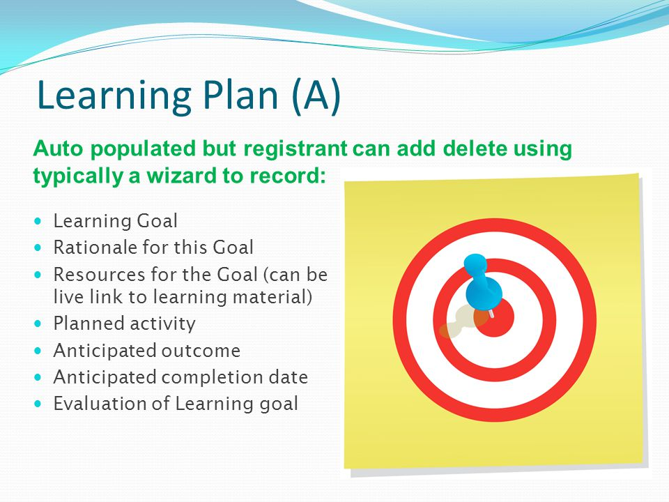 Learning Plan (A) Learning Goal Rationale for this Goal Resources for the Goal (can be live link to learning material) Planned activity Anticipated ou