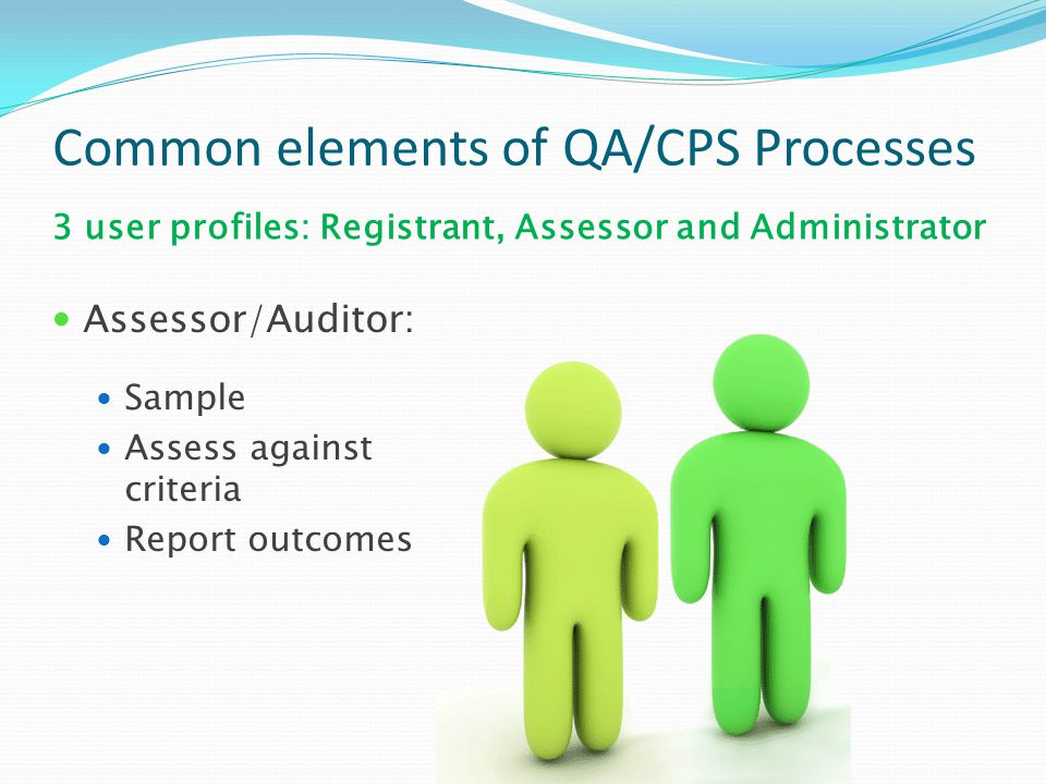 Common elements of QA/CPS Processes Assessor/Auditor: Sample Assess against criteria Report outcomes 3 user profiles: Registrant, Assessor and Adminis