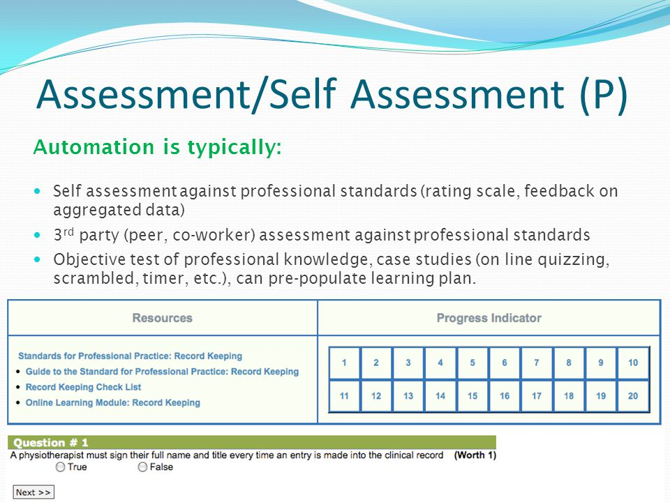 Assessment/Self Assessment (P) Self assessment against professional standards (rating scale, feedback on aggregated data) 3 rd party (peer, co-worker) assessment against professional standards Objective test of professional knowledge, case studies (on line quizzing, scrambled, timer, etc.), can pre-populate learning plan.