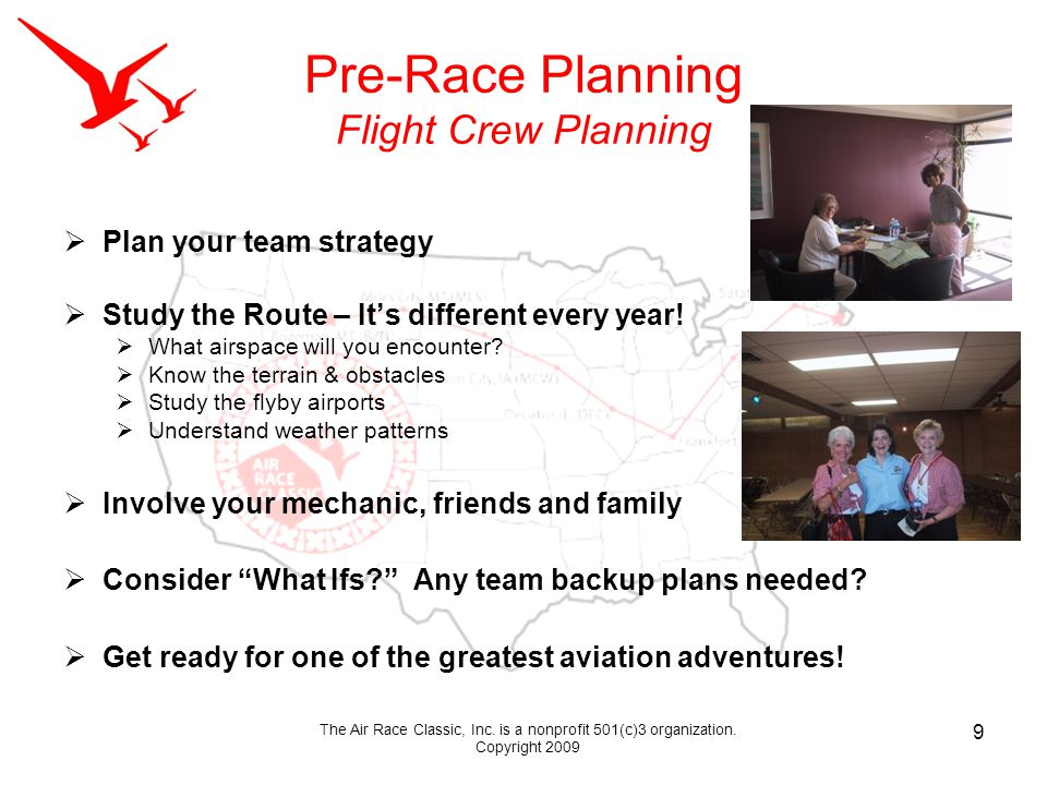 Pre-Race Planning Flight Crew Planning Plan your team strategy Study the Route – Its different every year.