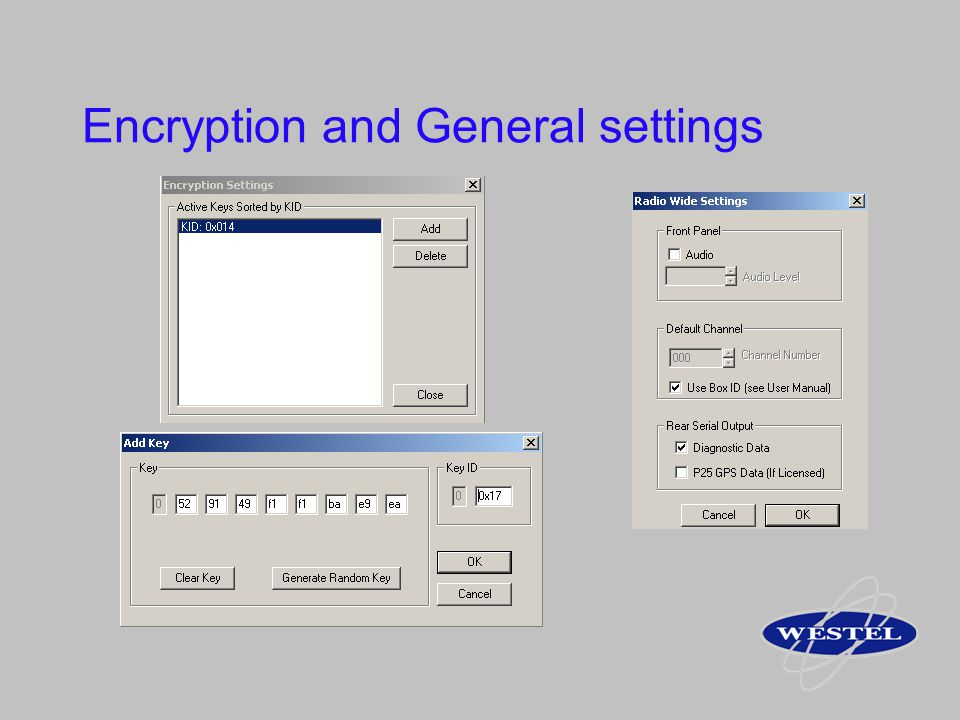 Encryption and General settings