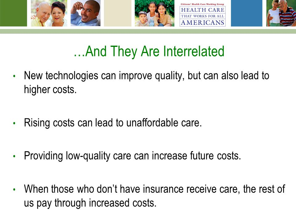 …And They Are Interrelated New technologies can improve quality, but can also lead to higher costs. Rising costs can lead to unaffordable care. Provid