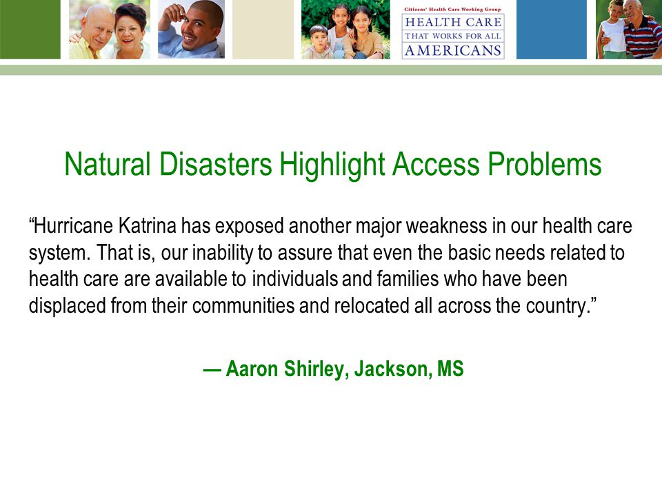 natural disasters and health care