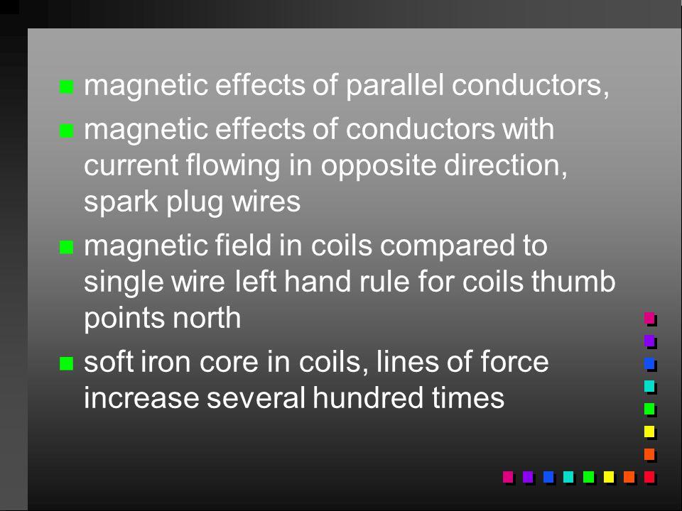 n n magnetic effects of parallel conductors, n n magnetic effects of conductors with current flowing in opposite direction, spark plug wires n n magne