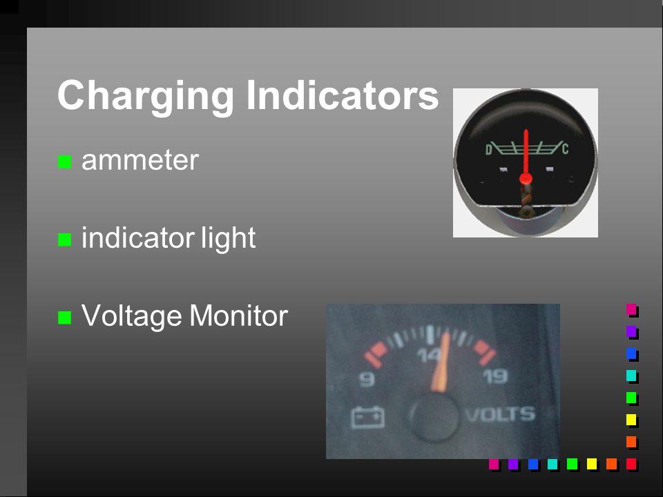 Charging Indicators n n ammeter n n indicator light n n Voltage Monitor