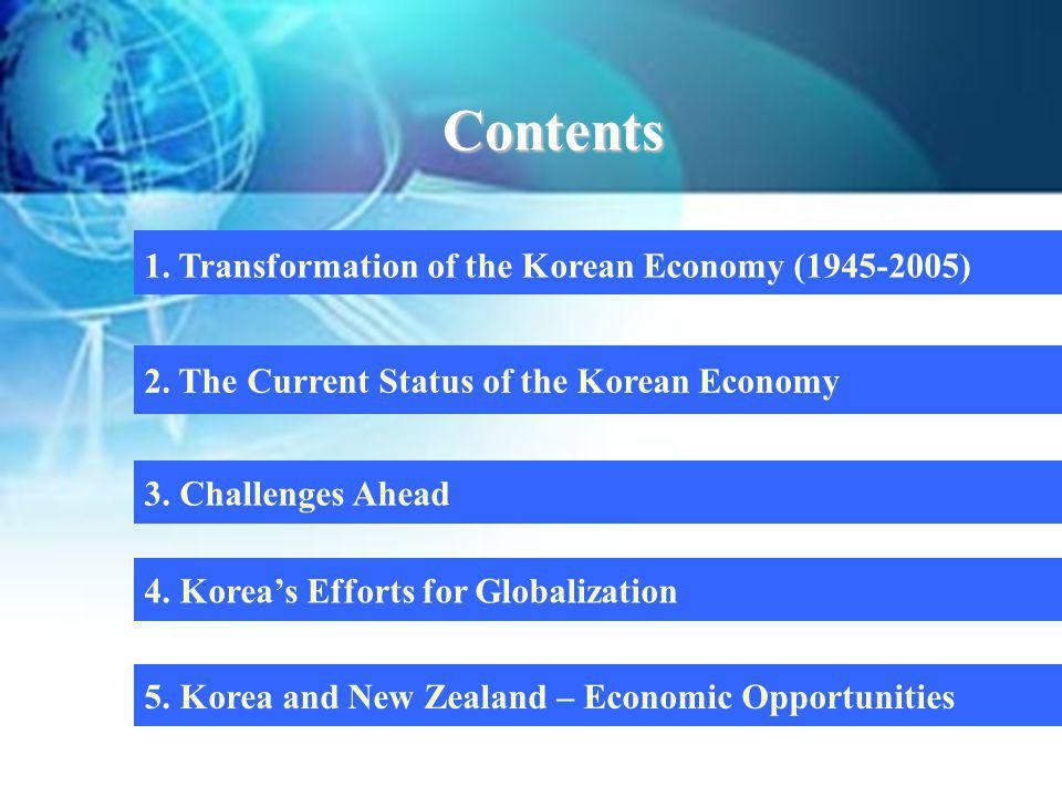 1. Transformation of the Korean Economy (1945-2005) 2. The Current Status of the Korean Economy Contents 3. Challenges Ahead 5. Korea and New Zealand