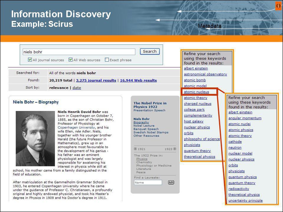 Information Discovery Example: Scirus Metadata