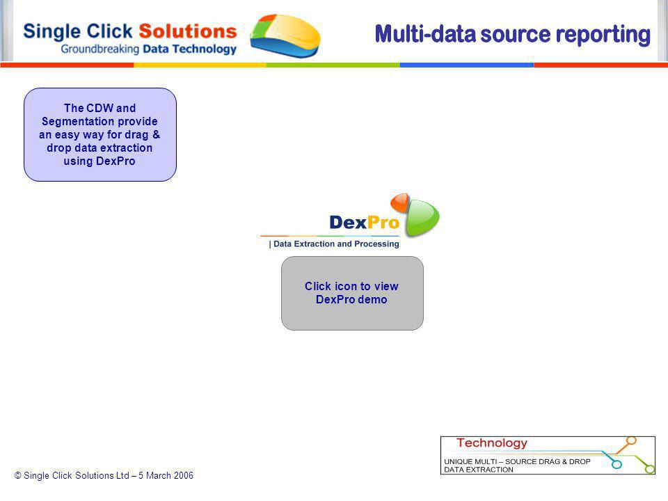 © Single Click Solutions Ltd – 5 March 2006 The CDW and Segmentation provide an easy way for drag & drop data extraction using DexPro Click icon to view DexPro demo