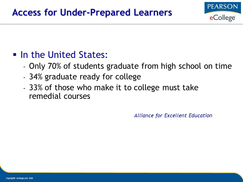 Copyright© eCollege.com 2008 Access for Under-Prepared Learners In the United States: – Only 70% of students graduate from high school on time – 34% graduate ready for college – 33% of those who make it to college must take remedial courses Alliance for Excellent Education