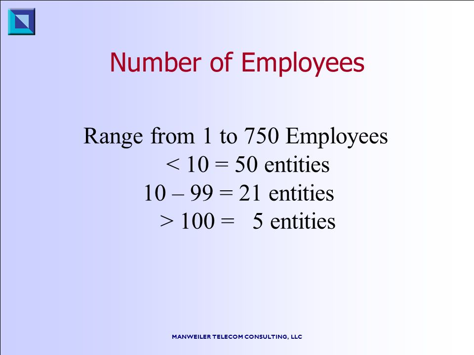 MANWEILER TELECOM CONSULTING, LLC Number of Employees Range from 1 to 750 Employees < 10 = 50 entities 10 – 99 = 21 entities > 100 = 5 entities