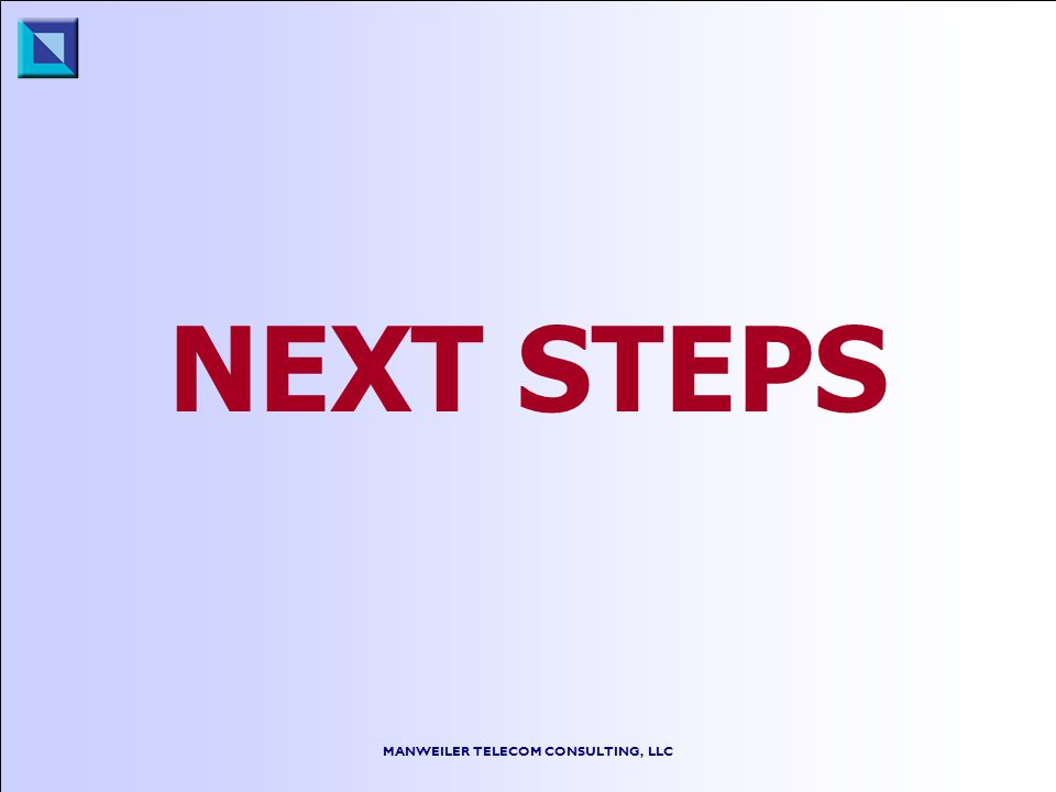 MANWEILER TELECOM CONSULTING, LLC NEXT STEPS
