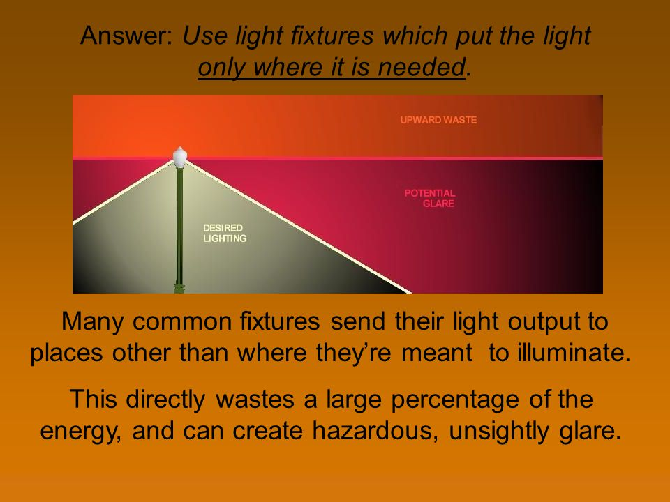 Answer: Use light fixtures which put the light only where it is needed. Many common fixtures send their light output to places other than where theyre